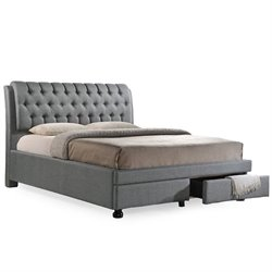 Baxton Studio Ainge Queen Upholstered Storage Bed with Drawers in Gray
