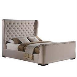 Baxton Studio Zuckerman Upholstered Queen Platform Bed in Light Beige