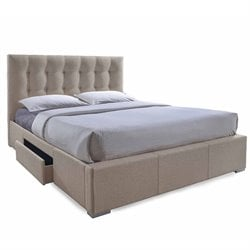 Sarter Upholstered King Storage Bed in Light Brown