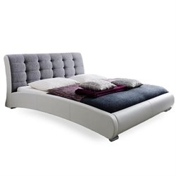 Guerin Leather Upholstered Queen Sleigh Bed in White
