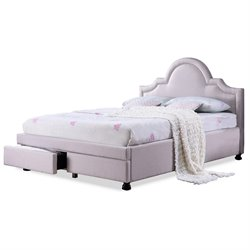 Baxton Studio Brisbane Upholstered King Storage Bed in Light Beige