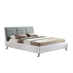 Bruno Upholstered Full Platform Bed in White