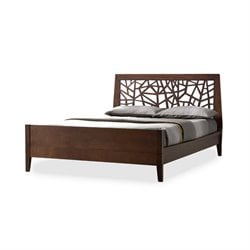Baxton Studio Jennifer Wood King Platform Bed in Dark Brown