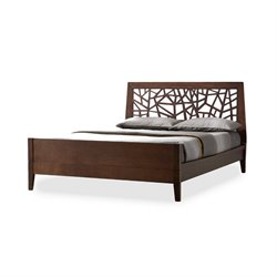 Jennifer Wood Queen Platform Bed in Dark Brown