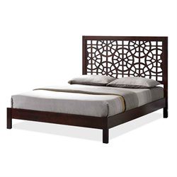 Baxton Studio Sakuro King Wood Platform Bed in Dark Brown