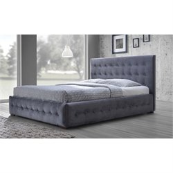 Baxton Studio Margaret Upholstered Queen Platform Bed in Gray