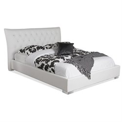 Marina Leather Upholstered Queen Platform Bed in White