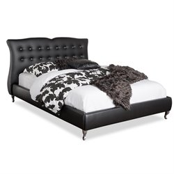 Baxton Studio Erin Leather Upholstered Queen Platform Bed in Black