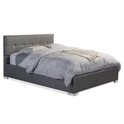 Baxton Studio Regata Upholstered Queen Platform Bed in Gray
