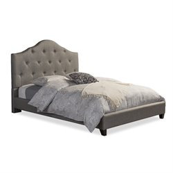 Baxton Studio Anica Upholstered Queen Platform Bed in Gray