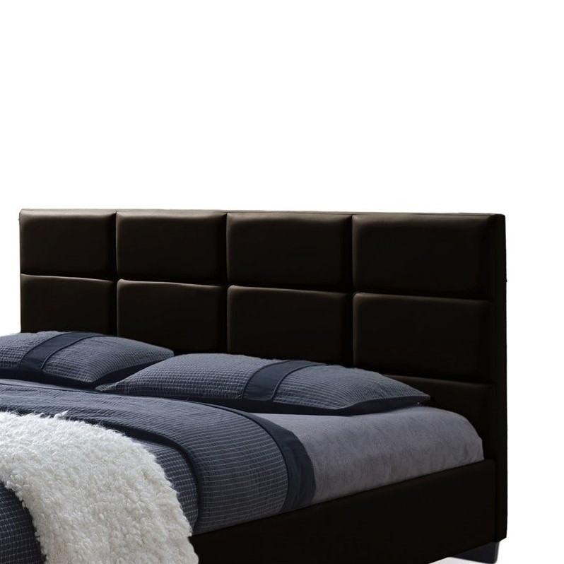 Vivaldi Leather Upholstered Queen Platform Bed In Brown
