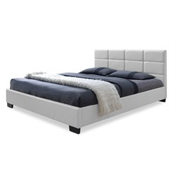 Vivaldi Leather Upholstered Queen Platform Bed in White
