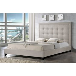 Baxton Studio Hirst King Platform Bed in Light Beige