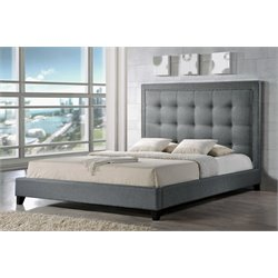 Baxton Studio Hirst King Platform Bed in Gray