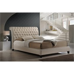 Baxton Studio Jazmin King Platform Bed with Headboard in Light Beige