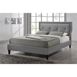 Baxton Studio Marquesa King Upholstered Platform Bed in Gray