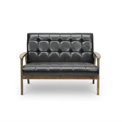 Baxton Studio Mid Century Faux Leather Loveseat in Brown