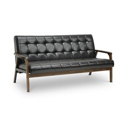 Mid Century Faux Leather Sofa in Brown