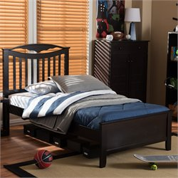Seconique Twin Platform Bed in Dark Brown