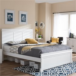 Amber Queen Platform Bed in White
