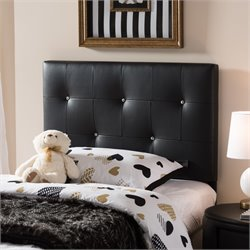 Kirchem Faux Leather Upholstered Twin Headboard in Black