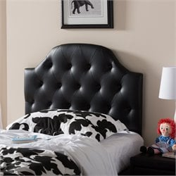 Morris Faux Leather Upholstered Twin Headboard in Black