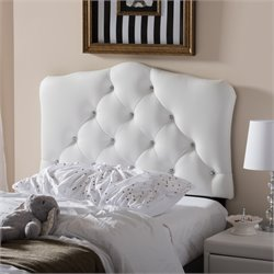 Rita Faux Leather Upholstered Twin Headboard in White
