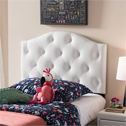 Myra Faux Leather Upholstered Twin Headboard in White