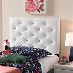 Viviana Faux Leather Upholstered Twin Headboard in White