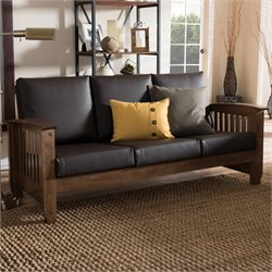 Charlotte Faux Leather Sofa in Dark Brown