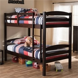 Crimson Twin Over Twin Bunk Bed in Dark Brown