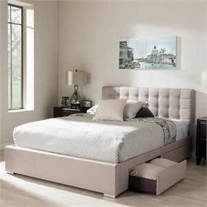 Rene Queen Storage Platform Bed in Beige