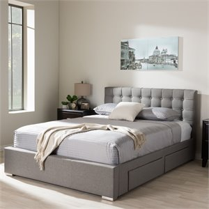 Rene Queen Storage Platform Bed in Gray