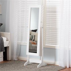 Alena Mirrored Jewelry Armoire in White