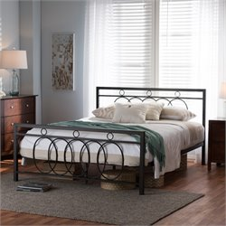 Rosalyn Full Metal Platform Bed in Antique Bronze