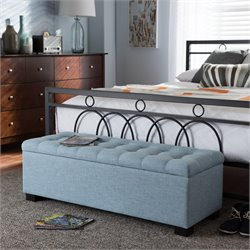 Roanoke Storage Bench in Light Blue