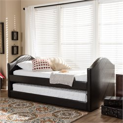 Alessia Faux Leather Upholstered Daybed in Brown