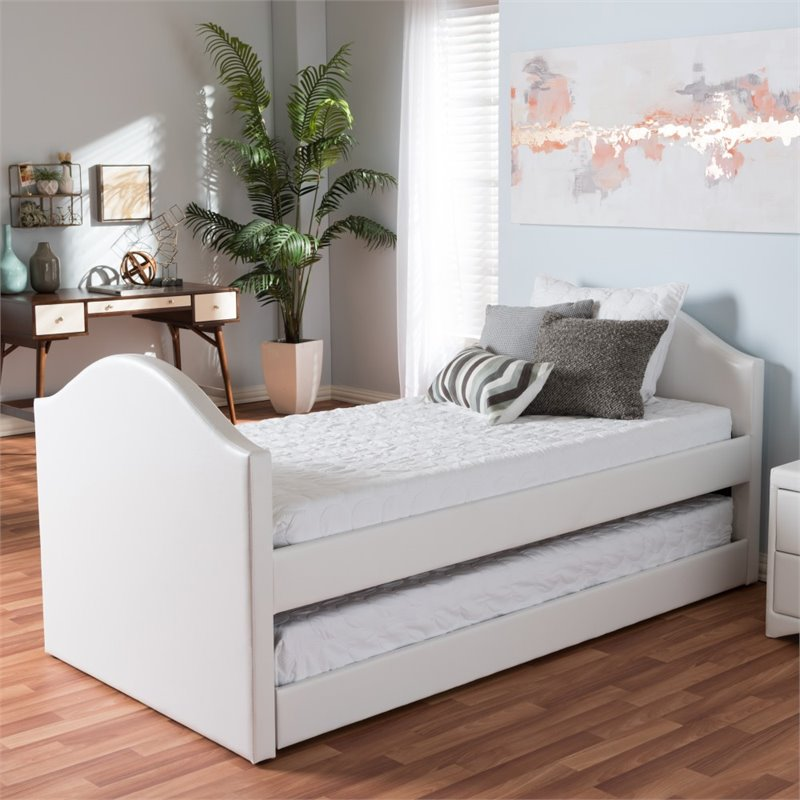 Alessia Faux Leather Upholstered Daybed In White Cf8751