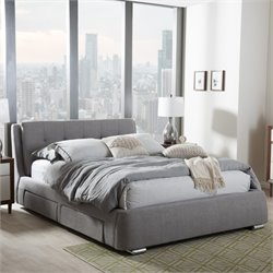 Camile King Storage Platform Bed in Gray