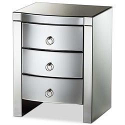 Baxton Studio Florence Mirrored 3 Drawer Nightstand in Silver