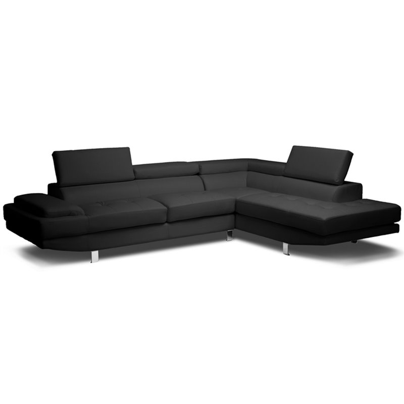 Baxton Studio Selma 2 Piece Leather Right Facing Sectional in Black