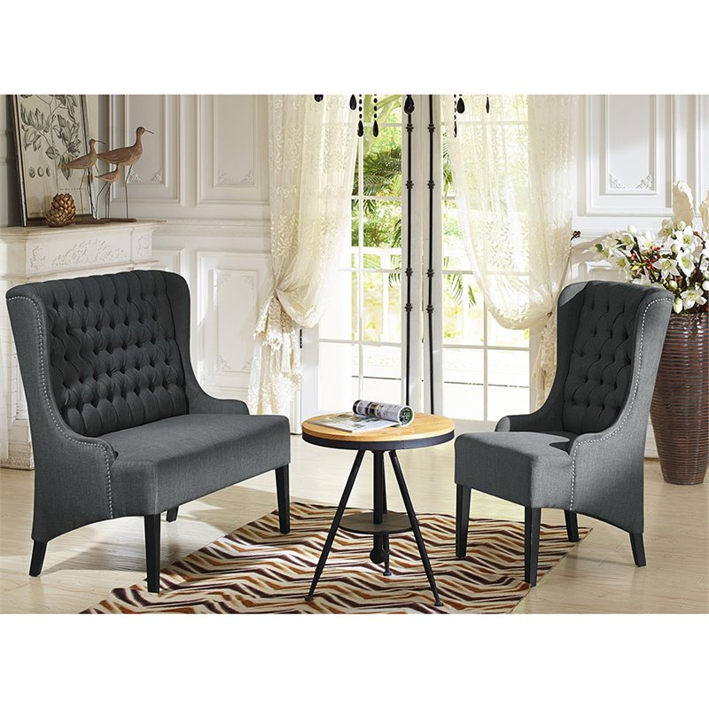Baxton Studio Vincent Tufted Wingback Accent Chair in Gray and Black