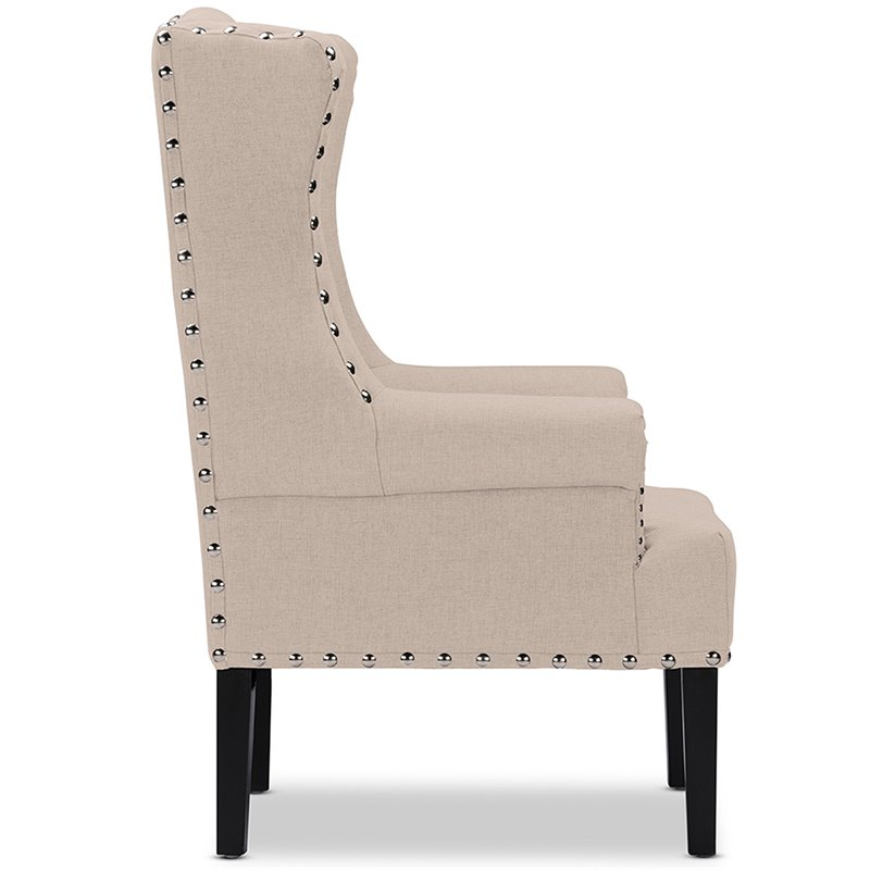 Baxton Studio Knuckey Tufted Wing Back Accent Chair in Beige and Black