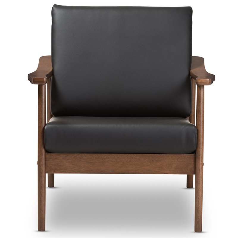 Baxton Studio Venza Faux Leather Accent Arm Chair in Black and Brown