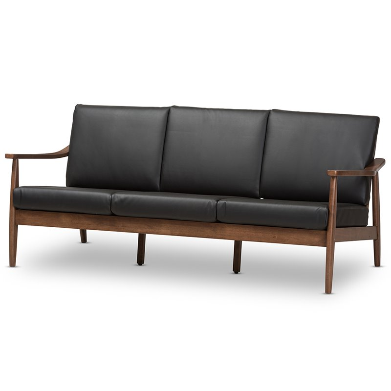 Swell Baxton Studio Venza Faux Leather Sofa In Black And Walnut Brown Theyellowbook Wood Chair Design Ideas Theyellowbookinfo