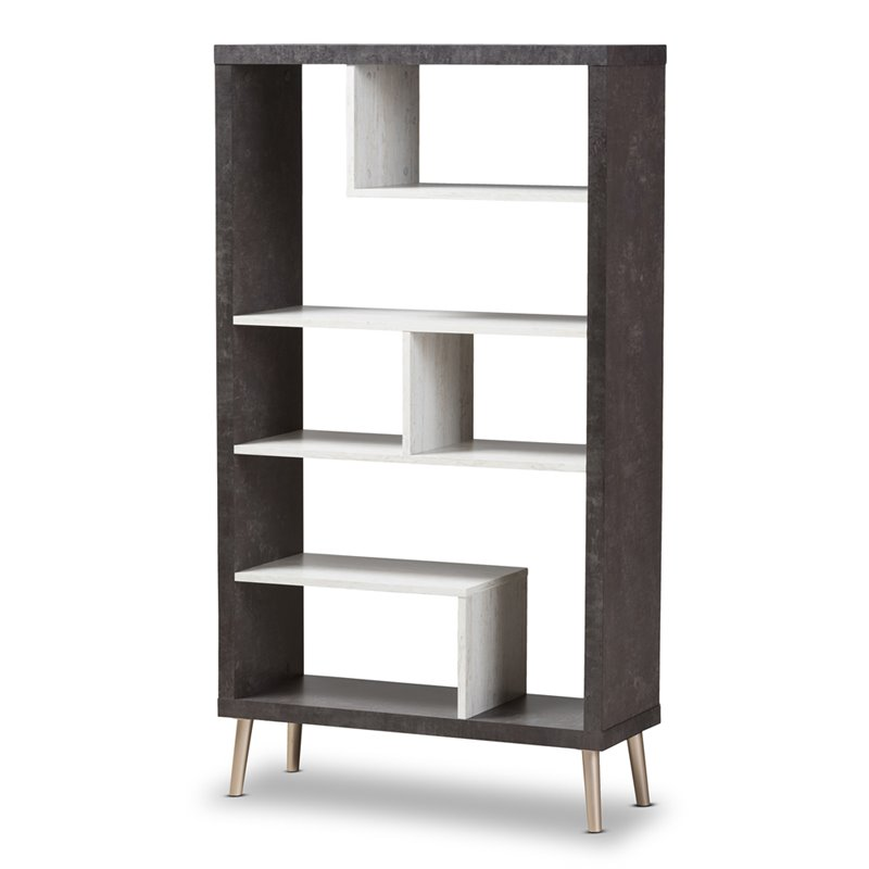 Baxton Studio Atlantic Bookcase in Brown and Gray