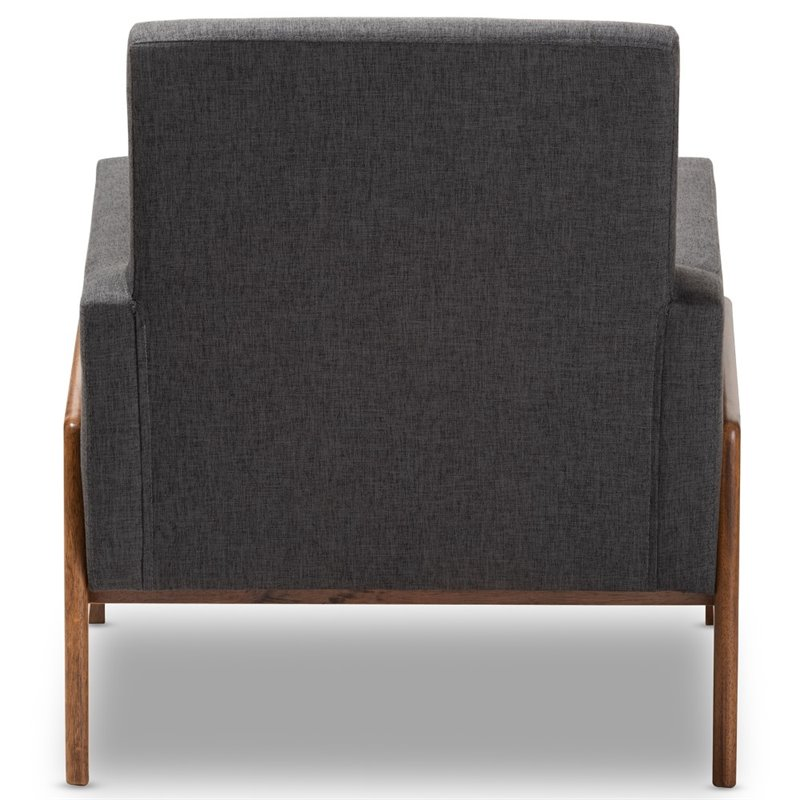 Baxton Studio Perris Upholstered Lounge Chair in Dark Grey and Walnut
