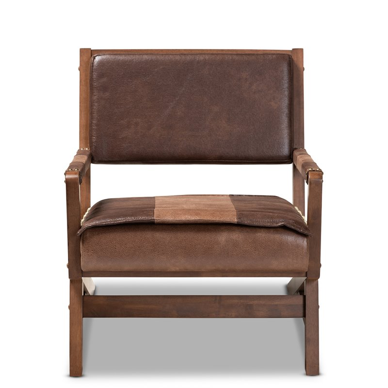 Baxton Studio Rovelyn Faux Leather Walnut Wood Accent Chair in Brown