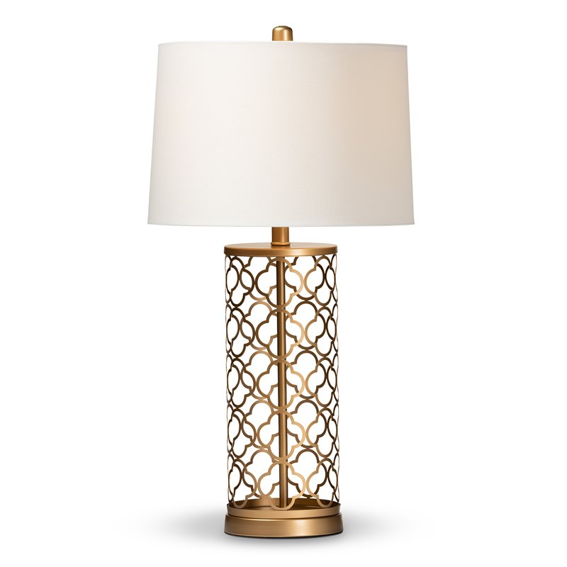 Strange Details About Baxton Studio Nelma Gold Finished Metal Quatrefoil Cage Table Lamp Download Free Architecture Designs Scobabritishbridgeorg