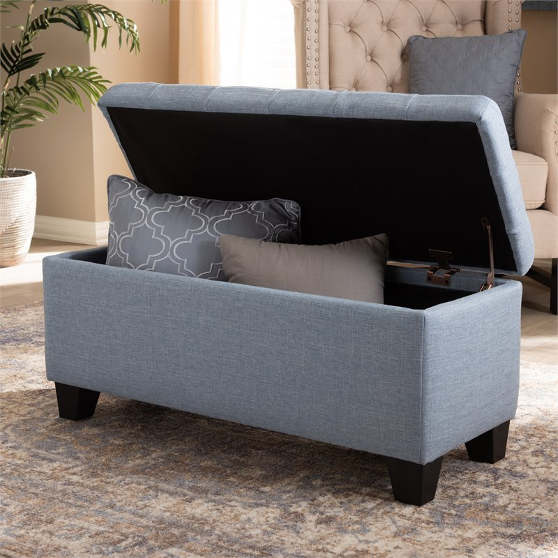 Baxton Studio Fera Tufted Fabric Ottoman with Storage in Light Blue